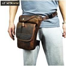Купить с кэшбэком Quality Leather Men Design Casual Messenger Tablets Sling Bag Multifunction Fashion Travel Waist Belt Pack Leg Bag Male 3112