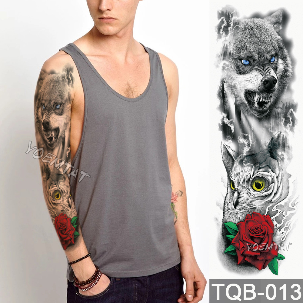 NEW 48*17cm Full Flower Arm Tattoo Sticker Wolf owl rose flower Temporary Body paint Water Transfer fake Tatoo sleeve