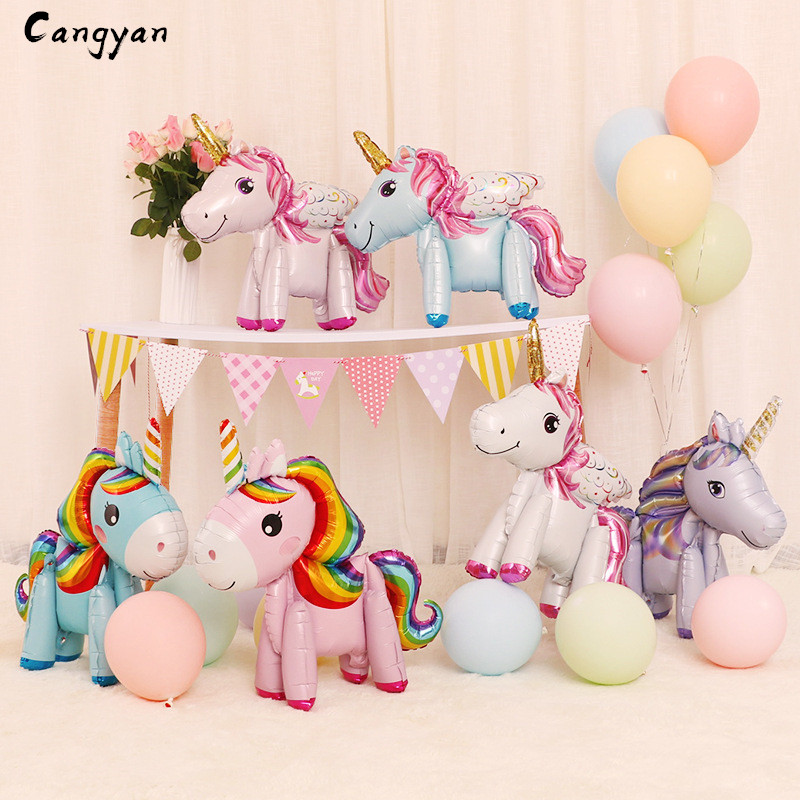 3d Assembled Unicorn Aluminum Balloon Standing Colored Pony Cartoon Toy With Wings Shaped Cute Party Supplies Inflatable Balloon