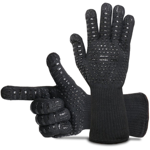 Image 3 - 1Pair Fire Insulation Safety Gloves 500 Centigrade Heat Resistant Aramid Glove Aramid Grill BBQ Glove Oven Kitchen Glove 4 Color