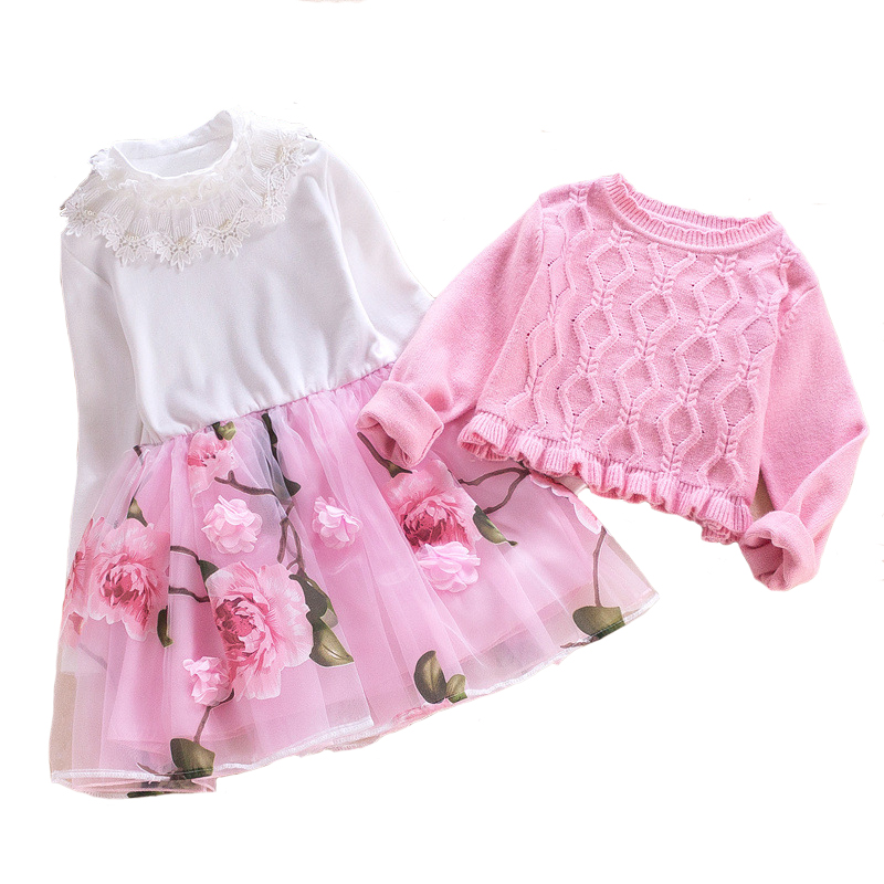 Children`s Dress Set Girls Princess Suit Baby Sweater Coat+Cotton Mesh Dress 2pcs Floral  Clothing High Quality 4y-10y free shipping new arrival children s clothing child one piece dress twinset winter dress good quality coat dress