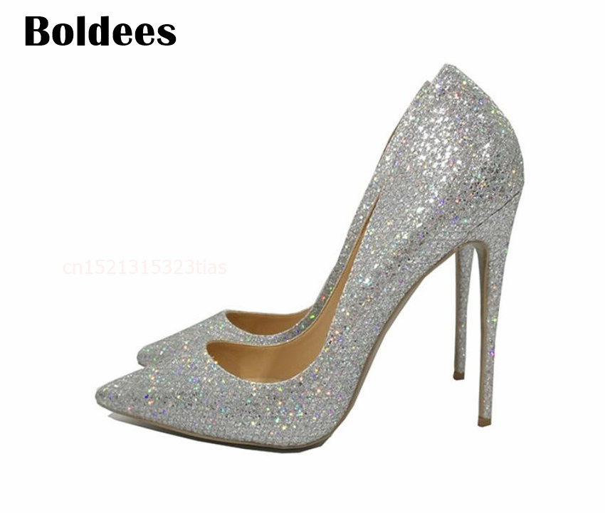 2018 Spring /Autumn Heeled wedding shoes bride silver sexy high heels pumps women shoes pumps 12cm pointed toe Shoe