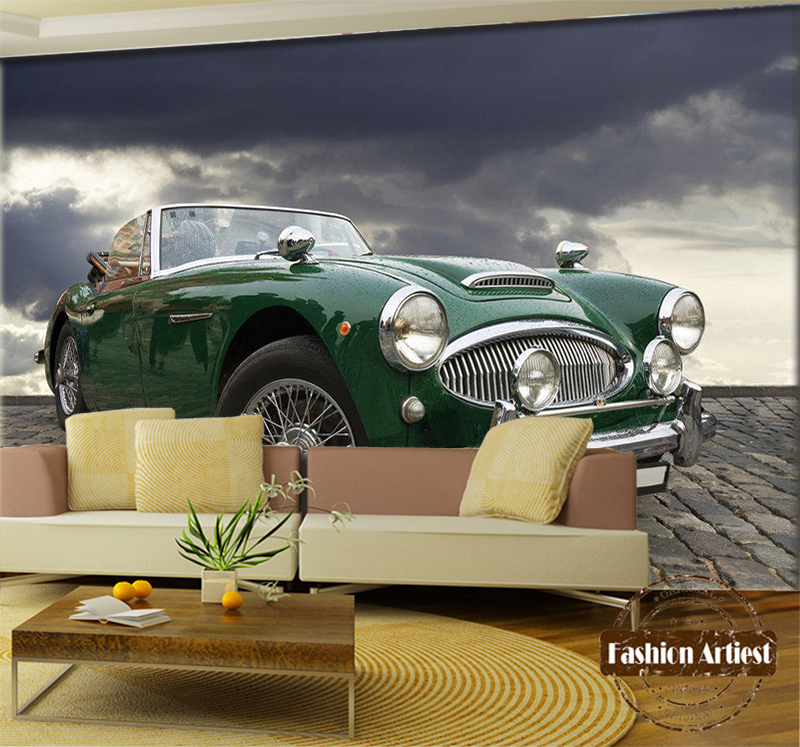 Custom 3d wallpaper mural classic vintage car automobile exhibition ...