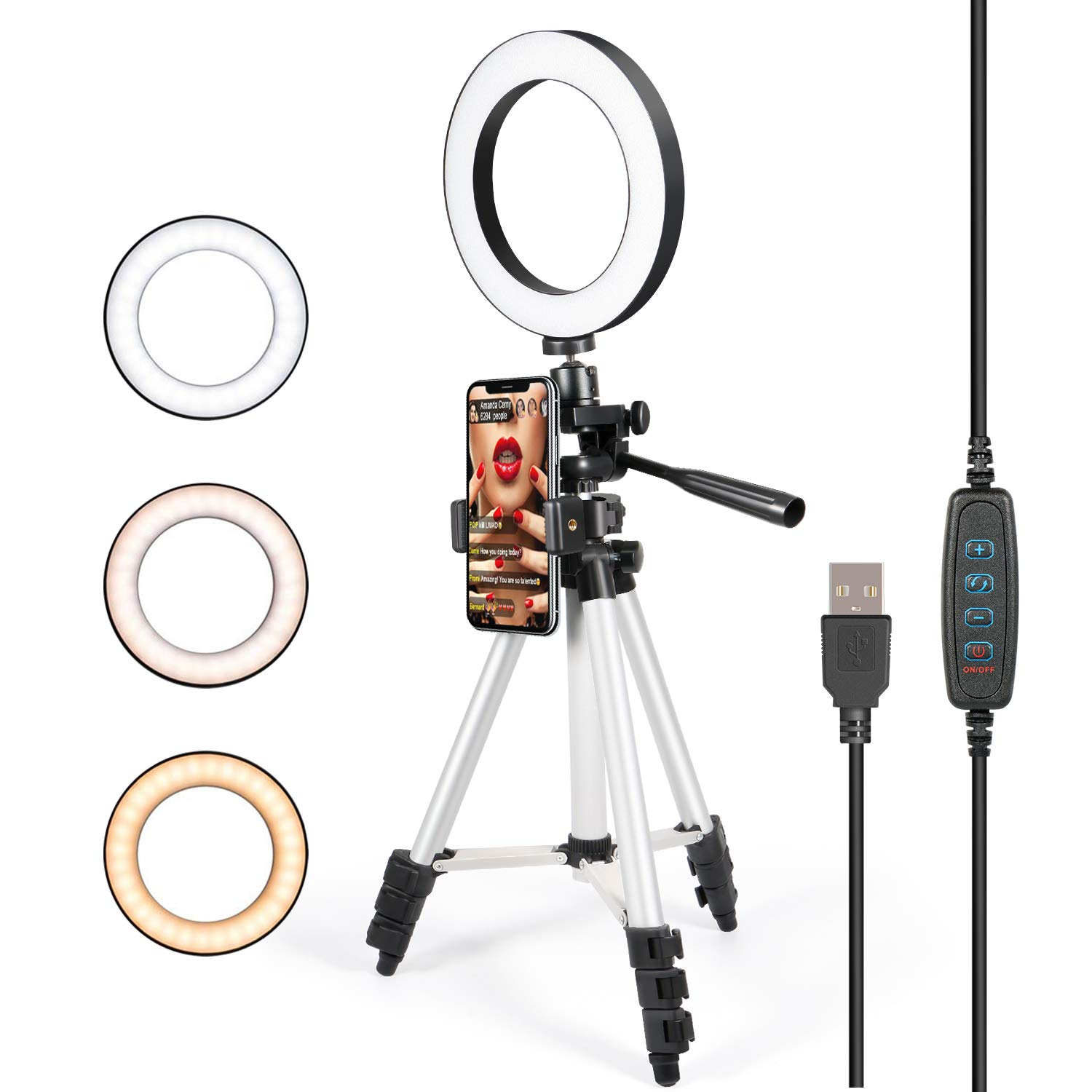 Photography Phone Holder Tripod Stand With LED Selfie Ring Light Dimmable Makeup Lamp For IPhone Samsung YouTube Live Stream