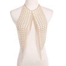 New Fashion Boho Imitation Pearls Statement tassel long necklace sexy women Harness Body Chain Jewelry