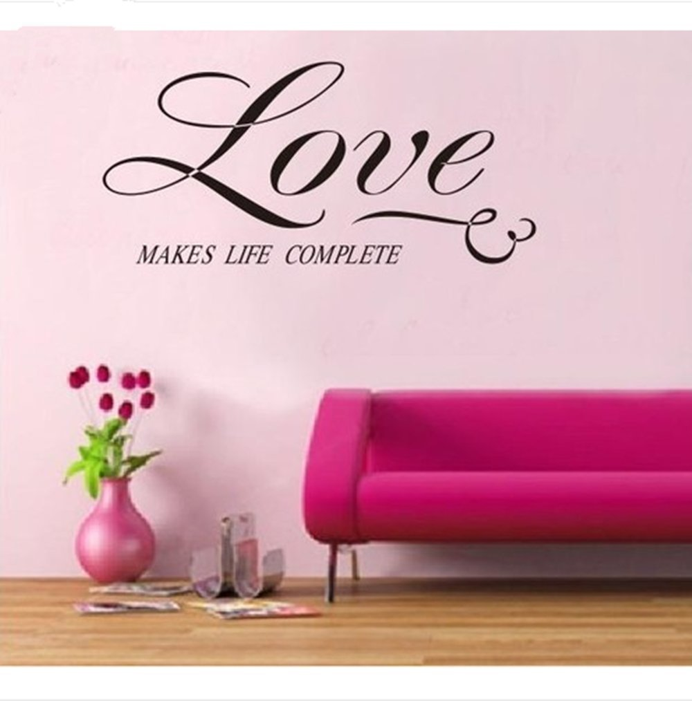 Love Make Life Complete Quote Art Vinyl Decal Love Wall Sticker - How to make vinyl decals at home