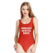 5ea21ec0f4e PINJIA PRINCESS NO BITCH QUEEN Letter Women One Piece Swimsuit High Cut Low  back sexy