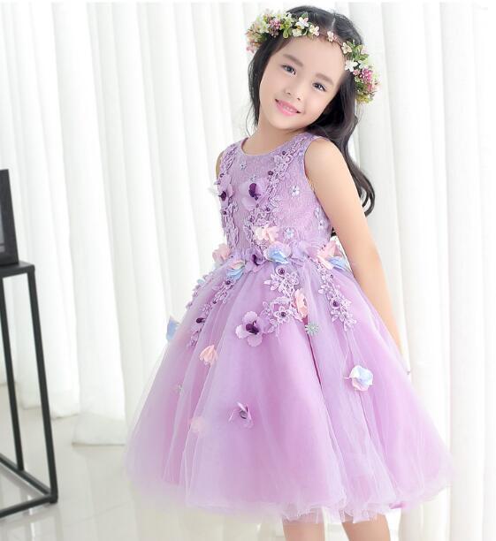 f55eacf34c 2017 New Arrival fioletowy tiul wykwintne kwiat księżniczka sukienka  dziewczyny chrzest wesele urodziny suknia dla dzieci tutu sukienka w 2017  New Arrival ...