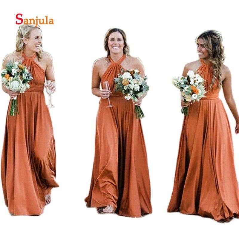 Caramel Spandex   Bridesmaid     Dresses   Halter A-Line Wedding Party   Dresses   Simple Candy Color Formal   Dress   vestiti damigella D287