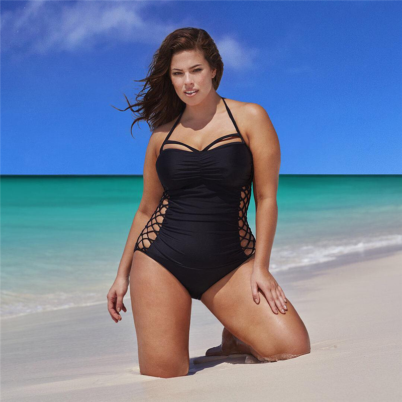 One Piece Backless Swimsuit 2018 Women Swimwear Black Beach Plus Size Bodysuits Cross Bandage Push Up Bathing Suits Monokini one piece swimsuit cheap sexy bathing suits may beach girls plus size swimwear 2017 new korean shiny lace halter badpakken