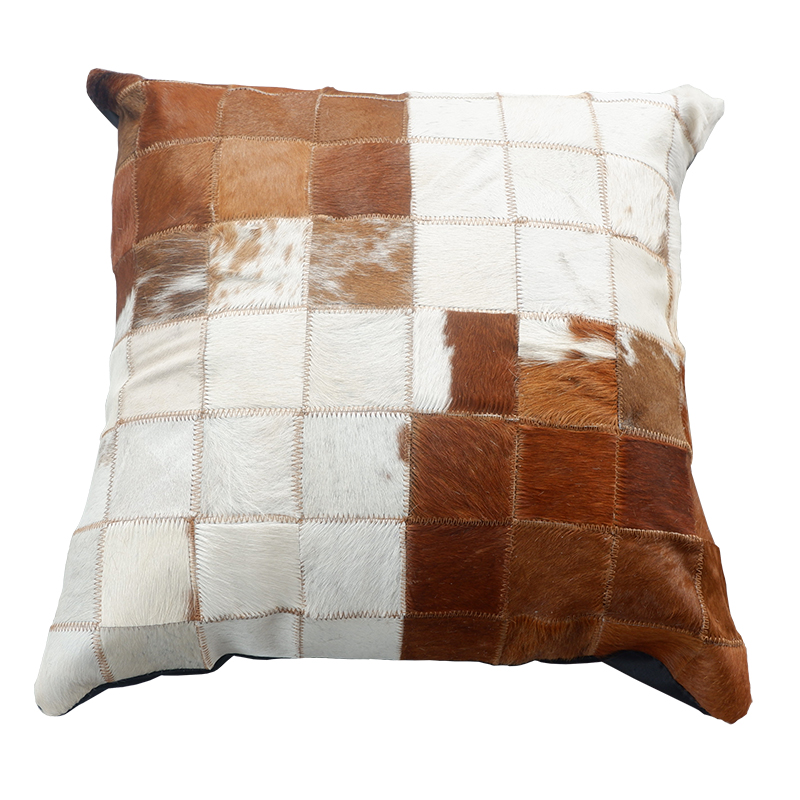 Square Cowhide Fur Plaid Pillow Cushion With Core , Natural Color Hand Made Leather Throw For Furniture Upholstery SALES