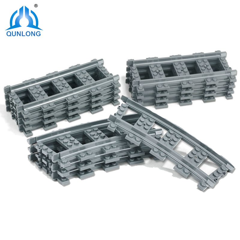 Qunlong 10-100Pcs Compatible Legoe City Trains Train Track Rail Straight Curved Rails Building Blocks Set Bricks Model Kids Toys