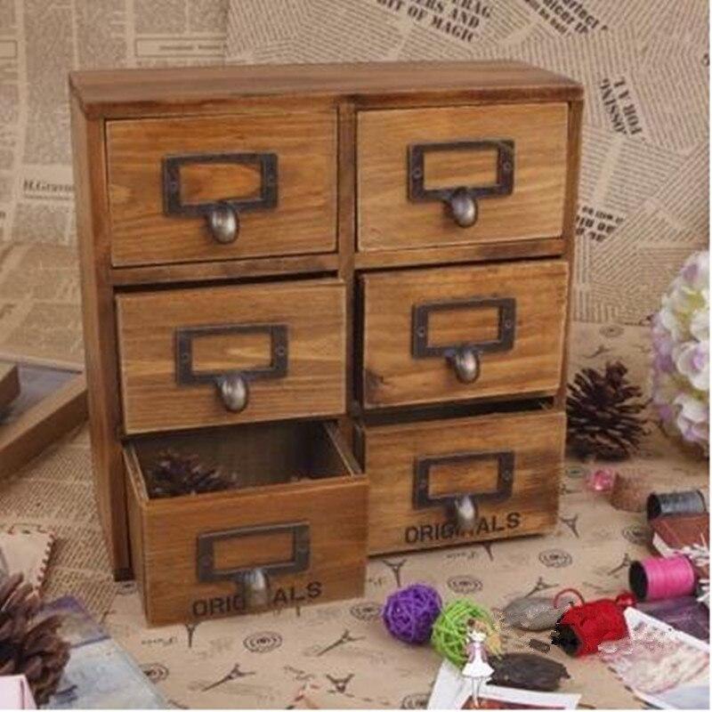 Z 6 Drawer Storage Box Groceries Vintage Wooden Finishing Cabinet Desktop Organizer Free Shipping In Bo Bins From Home Garden On