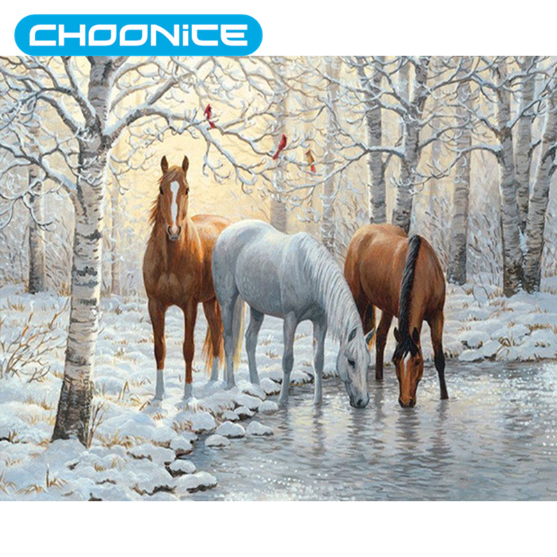 Diamond Painting Winter Horse Herd Cross Stitch DIY 3D Diamond Embroidery Snow Mountain Landscape Birch Forest Painting