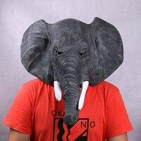 Full Head Unisex Gray Latex Asian Elephant Cosplay Animal Masks For Party Halloween