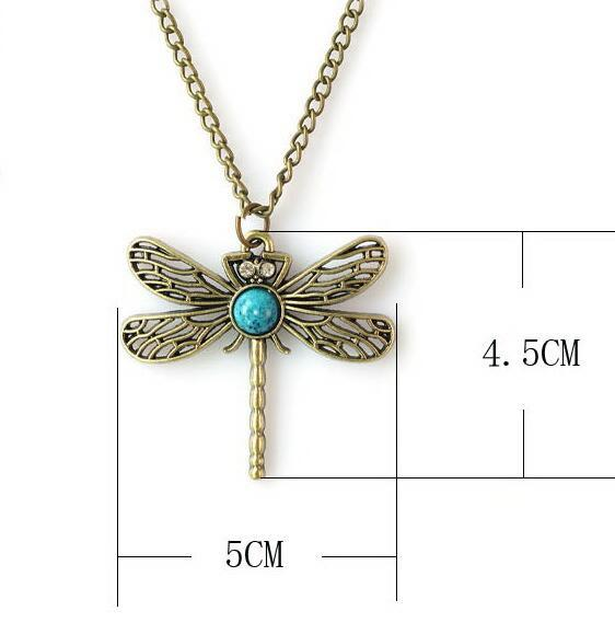 green stone Bronze Dragonfly Vintage Necklace Fashion Jewelry Lovely gift Free Shipping Wholesale cool people charm cute Classic