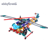 Abbyfrank 3D Building Blocks Kit Helicopter Model Scale Blocks Electronic Assemble Aircraft DIY Educational Toys For