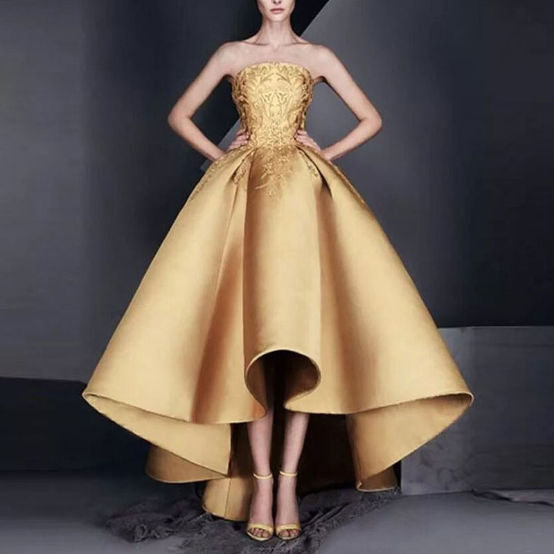 New Arrival Evening Dresse Formal Vestido De Noiva Satin Prom Party Robe De Soiree Golden Strapless High-low Formal Gown Lace-up
