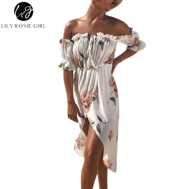 Lily Rosie Girl Boho White Floral Print Sexy Off Shoulder Dress Women Slash Neck Ruffles Summer Beach Maxi Long Dresses Vestios