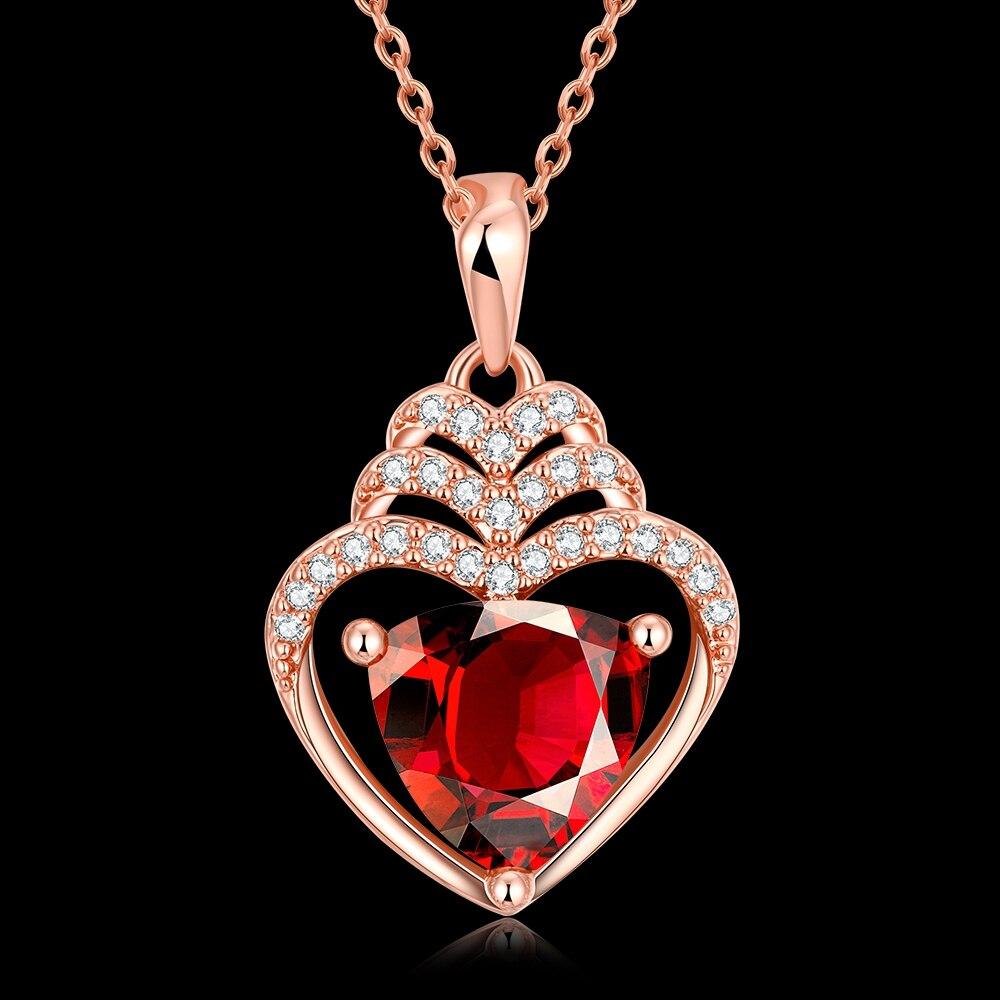 Новая коллекция высокое качество Дизайн с сердечком проложить красный циркон дворец Стиль покрытие из розового золота Подвеска Цепочки и о...