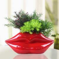 Lip Flower Vase Red Mouth Shaped Plant Pot Modern Resin Lips Vase Not Include Artificial Flower/green Plant