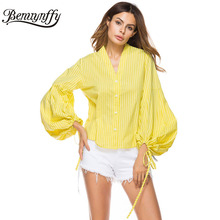 Benuynffy Yellow Striped Cotton Button Shirt Top Women Blouses Fashion Casual Ladies V Neck Tie Lantern Sleeve Autumn Blouse