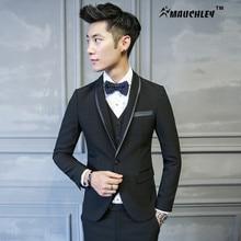 2017 Chinese Slim Fit Wedding Suit For Men 3 Pieces /Set (Jacket +Vest+Pants) Mens Prom Suits 2 Button Boy Tuxedo Black Mauchley