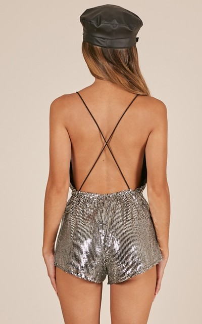 Sexy V Neck Silver Sequins Summer Playsuits 5