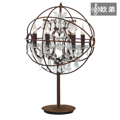 Odie American Country Living Room Luxury Crystal Table Lamp Creative  Decorative Wrought Iron Armillary Sphere Bedroom Bedside La In Mercury Lamps  From ...