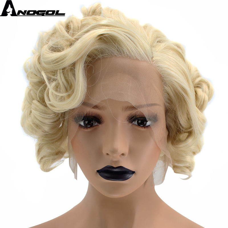 Anogol Side Part High Temperature Fiber Short Bob Kinky Curly Blonde Synthetic Hair Wigs Lace Front