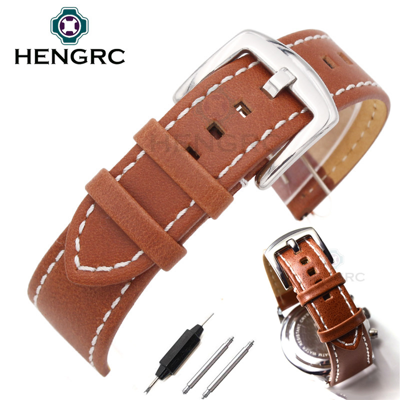 HENGRC Watchbands Strap 22mm 24mm Fashion Men Women Soft Durable Genuine Leather Watch band Stainless Steel Buckle Accessories top fashion new arrival soft durable genuine cowhide leather men women watch strap 18mm 20mm 22mm rich color watchband