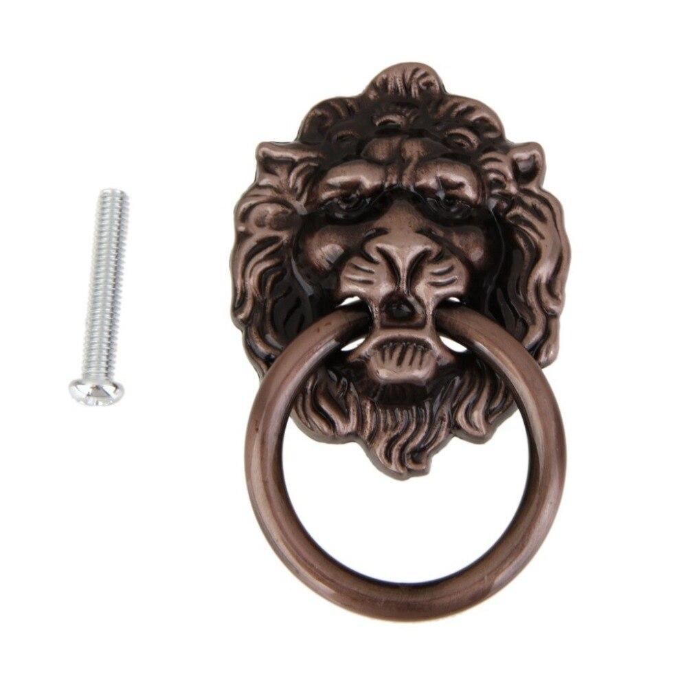 Lion Drawer Pull Knobs Handles Dresser Drop Pulls Rings Antique Bronze Lion Head Door Knocker Cabinet Knob Handle