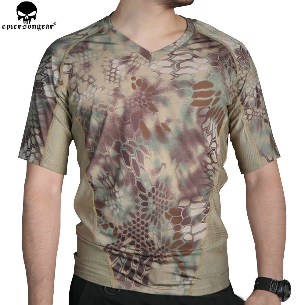 EMERSONGEAR Tactical Camo T shirt Hunting Camo Running Tight Base Layer Camouflage T shirt Breathable Perspiration Shirt EM9167|Hunting Base Layers| |  - title=
