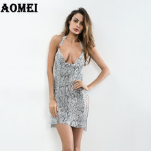 Women Mini Dress Sexy Clubwear Snake Skin Printed Backless Evening Dinner  Party Ladies Fashion Tight Split Dresses Robes Summer 24ea5094890d