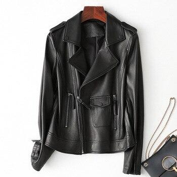 Ladies Genuine Leather Jacket Sheepskin Coat 100% Real Sheep Leather Jacket Women Motorcycle Black White Brown Female Outerwear
