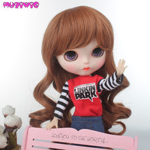 10 inch Blyth Doll Wigs Heat Resistant Fiber Long Wave Brown Hair for Blyth Doll with 24-25cm Head Circumference цена 2017