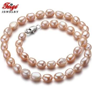 98ac9e4010ec Mujeres con encanto venta 7-8mm blanco perlas cultivadas de Akoya collar  pendiente 18