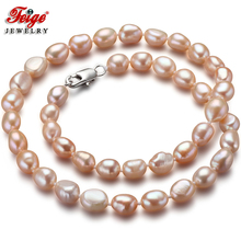 где купить Feige Special offer Baroque 7-8MM Pink Freshwater Pearl Choker Necklace for Women Classic style Fine Pearl Jewelry Colar Bijoux по лучшей цене