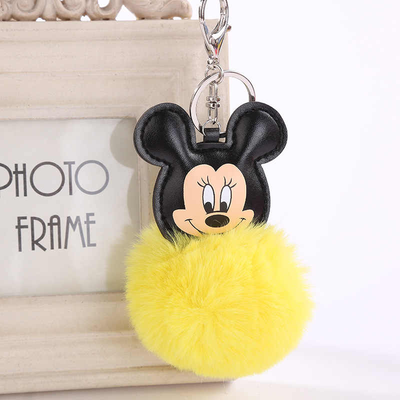 New Cute Fluffy Fur Mickey Keychain Faux Rabbit Fur Ball Pom Pom Mouse Key  Chains Bag 24e13e4e62b1a