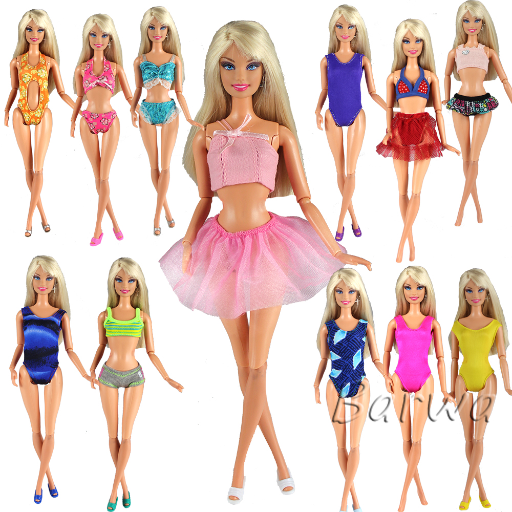Fashion Handmade 5 Items/lot Doll Swimsuit Random Swimwear Bikini Swimming Outfit Beach Clothes For Barbie Game DIY Christmas