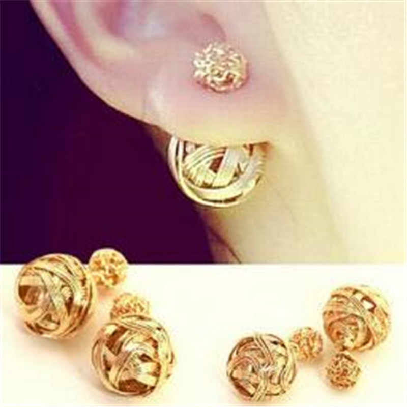 LUSION Extendy Metal Weaving Double Sides Earrings For Woman New 2018 Vintage Cute Gold Sliver Color Stud Earring Hot Sales