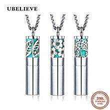 Ubelive серебряный цвет круглый эфирное масло диффузор лист ожерелье 316L ароматерапия из нержавеющей стали подвески-диффузоры для женщин