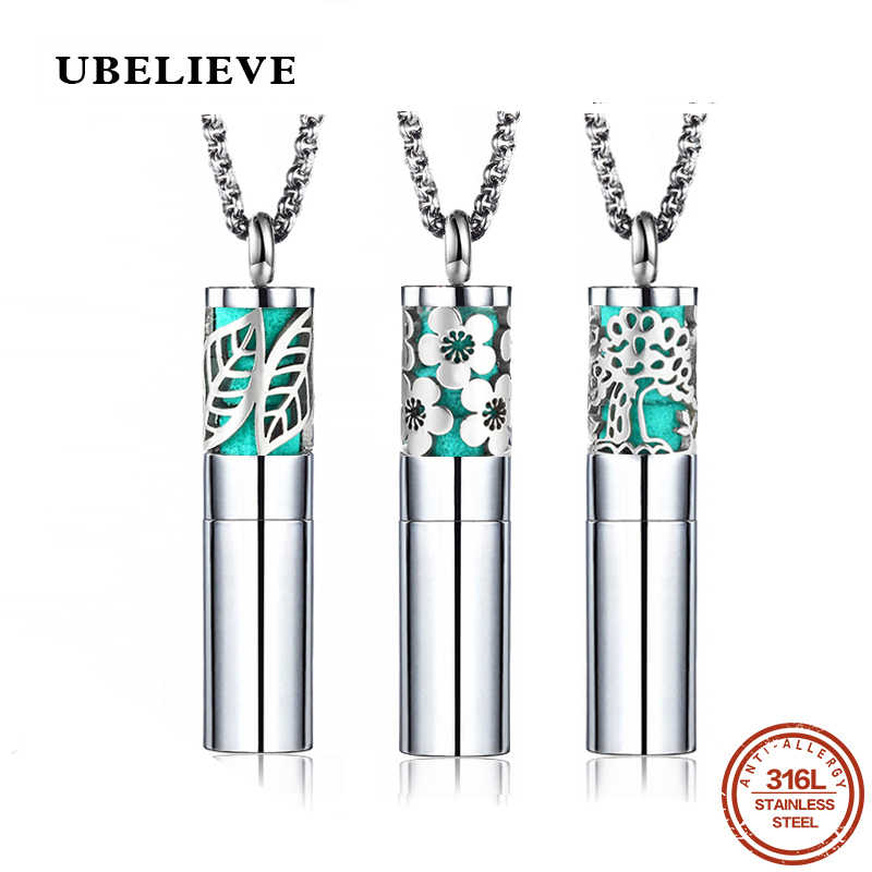 UBELIEVE Silver Color Round Essential Oil Diffuser Leaf Necklace 316L Stainless Steel Aromatherapy Diffuser Pendants Women