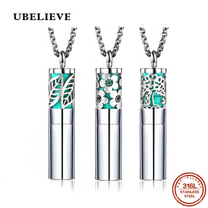 UBELIEVE Round Essential Oil Diffuser Pendant Leaf Necklace 316L Stainless Steel Aromatherapy Diffuser Pendants Women(China)