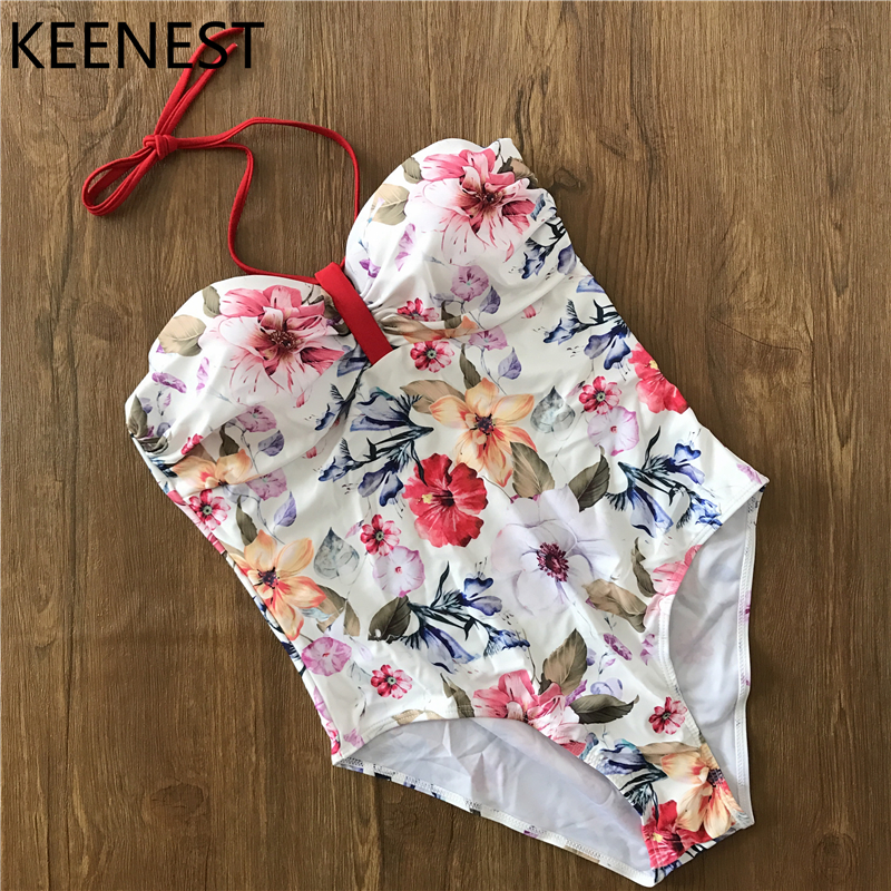 KEENEST 2018 Halter Bathing Suit Push Up Sexy One Piece Swimsuit Women Swimwear Bandeau Jumpsuit Bikinis Strapless surplice self tie halter jumpsuit