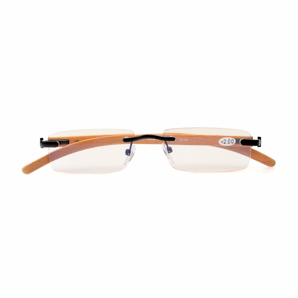 5cdb56bc9ba2 CG1633 Eyekepper Amber Tinted Lenses Computer Small Lens Rimless In Wood  Temple Arms And Spring Hinges Reading Glasses Men Women-in Reading Glasses  from ...