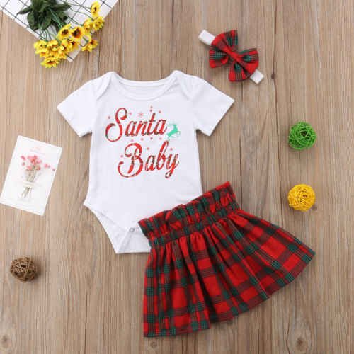 ee8f8099ea61 ... 2018 XMAS Infant Baby Girls Tops Short Sleeves Romper SANTA BABY+Skirts  Plaid Red Outfits ...