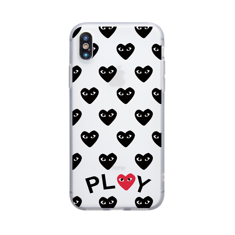 Cute Black Red Heart Play soft case for iphone 6 6s Plus 7 8 Plus Funda Coque For iphone 5s SE X XS Max XR Phone Cover Case