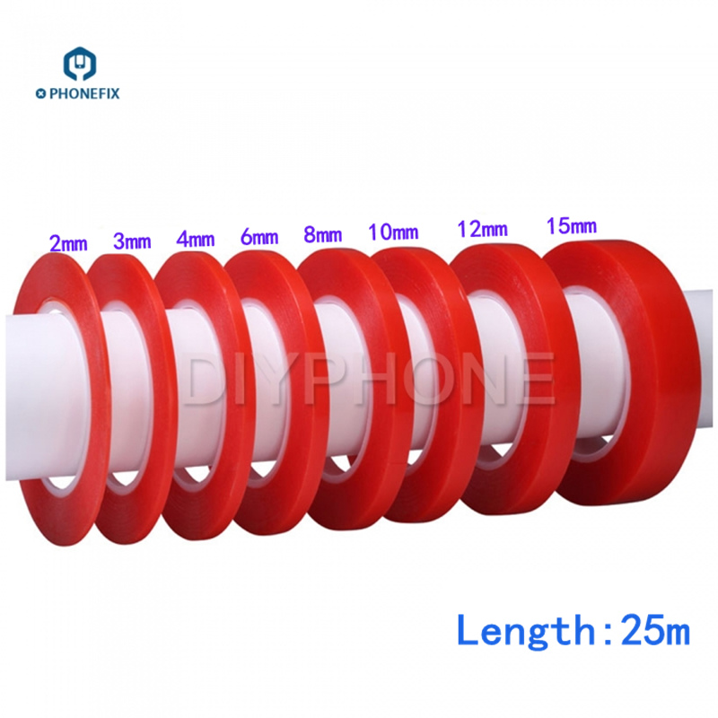 PHONEFIX PET Double Sided Tape High Temperature Red Film Clear Sticker for Phone Screen Panel Lens Camera Repair Tool Acrylic