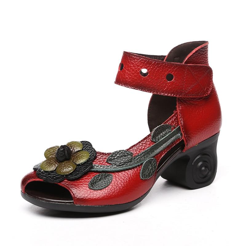En Talons Femmes 2018 D'été Personnalisé Sandales Main gris Style Noir rouge De Épais Cuir Timetang Sandale Chaussures Ethnique Fleur Véritable Oqgwt5F